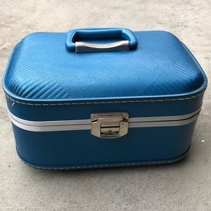 Vintage Blue Trojan Makeup Traveling Case